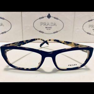 Prada Eyeglasses Top Black on White Havana New 54
